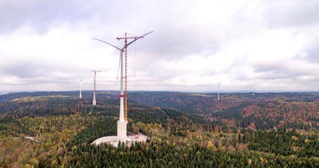 Die höchste Onshore-Windkraftanlage der Welt steht nun in Gaildorf bei Stuttgart. Bild: Max Bögl Wind AG