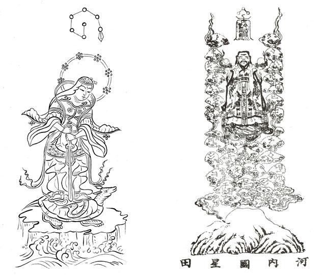 妙見宮に伝わる図像(江戸時代) 左 妙見菩薩 右 鎮宅霊符神