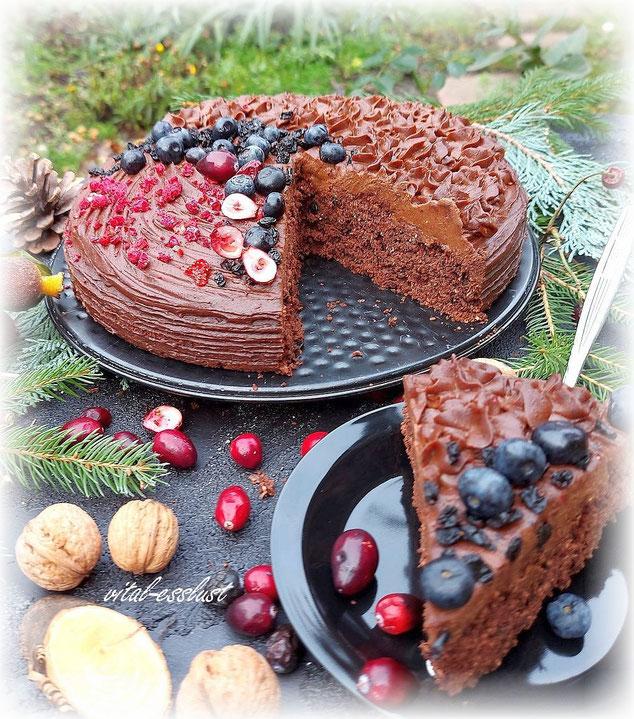 vegane Schokoladentorte, Heidelbeeren, Schokolade, Weihnachten