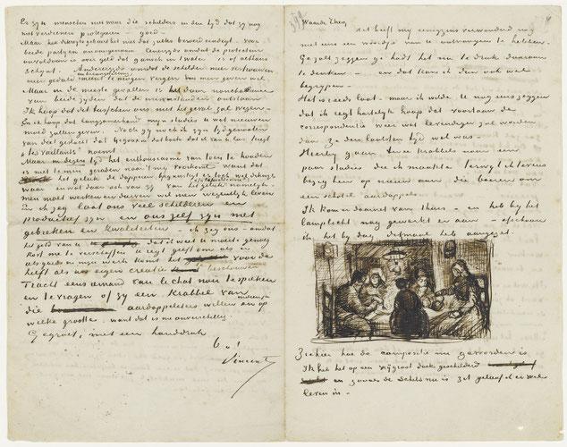 650通以上あるゴッホのスケッチ付き手紙を弟のテオはすべて保管していた。写真は初期作品の傑作「ジャガイモを食べる人々」についての解説手紙。