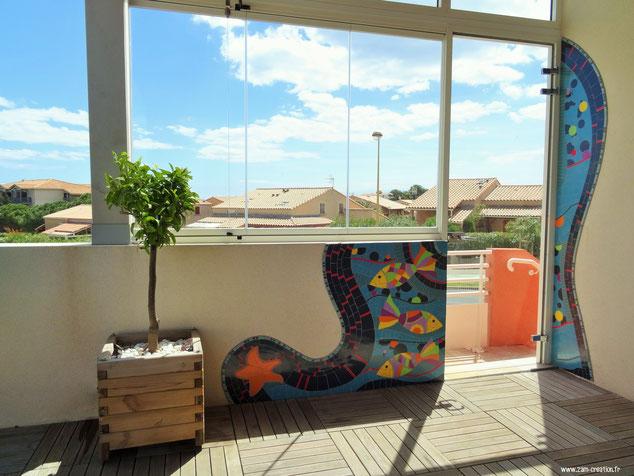 Décoration en mosaïque sur terrasse - Saint-Pierre-La-Mer