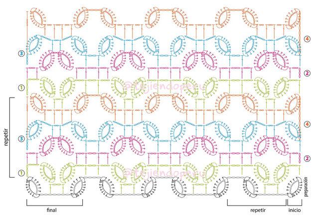 Punto argollas y cuadrados imitación macramé tejido a crochet
