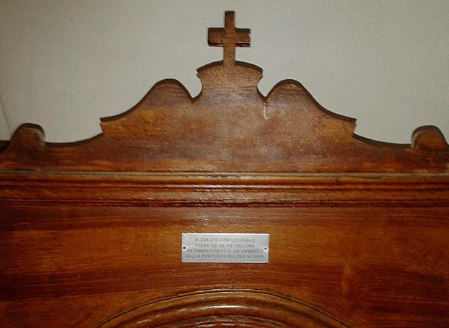 primo confessionale di Padre Pio a San Giovanni Rotondo