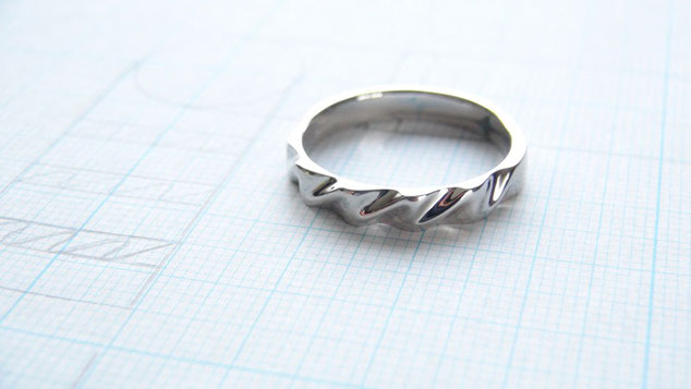 Pt900手作り結婚指輪ウェーブ
