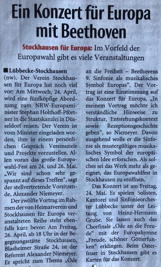 """Vorbericht zum Besuch beim NRW-Europaminister (24.04.19), zum Beethoven-Vortrag von A. Niemeyer (26.04.19) und zum """"Konzert für Europa"""" (24.05.19) (Neue Westfälische, Lokalteil Lübbecke, 19. April 2019)"""