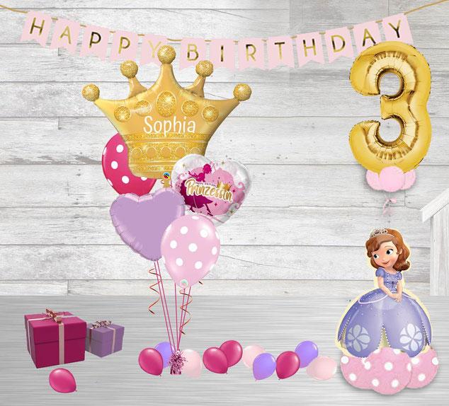 Luftballon Ballon Heliumballon Paket Geburtstag Princess Prinzessin Sophia rosa pink lila Girlande Krone Diadem Party Kindergeburtstag Mädchen mit Zahl Happy Birthday personalisiert Personalisierung Girlande Torte Geschenk  Deko Dekoration