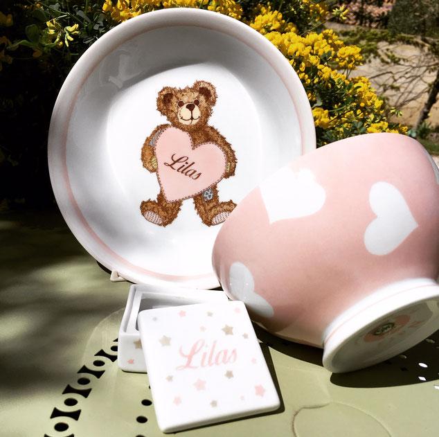 Set de vaisselle personnalisée en porcelaine pour une fille