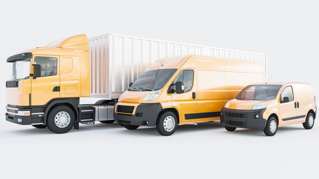Semi Container Truck mit gelben Lieferwagen auf 3D-Rendering mit weißem Hintergrund