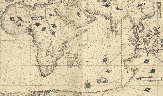 Fac similé photographique précoce (c. 1900) du planisphère de Nicolas Desliens de 1541, raremaps.com (Barry Lawrence Ruderman), extrait