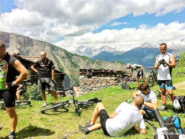 A Champromenty svacchiamo con vista sul monte Bianco