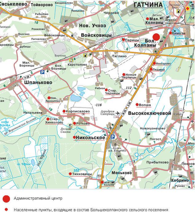 Населенные пункты входящие в состав Большеколпанского сельского поселения (на карте)