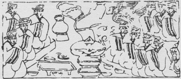 Banquet et acrobate. Henri Maspero (1883-1945) : La vie privée en Chine à l'époque des Han. — Conférence au musée Guimet, le 29 mars 1931. Parution dans la Revue des Arts Asiatiques, Paris, 1932, tome VII, pages 185-201.