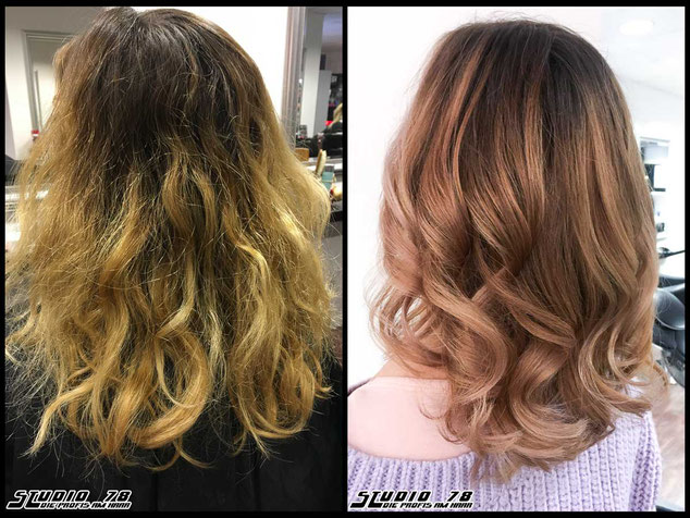 Coloration Haarfarbe balayage haircolor rosewood-blonde rosewood blonde rosenholz-blond  blond coloration vorher nachher