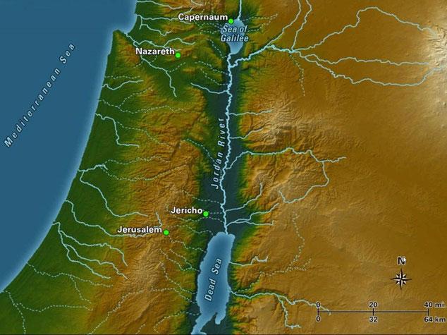 Le Jourdain, qui a donné son nom à la Jordanie, est un fleuve long de 360 km. Né dans les montagnes de l'Hermon, il traverse le lac de Tibériade ou lac de Galilée puis se jette dans la mer Morte, au Sud. Le Jourdain est souvent cité dans la Bible.