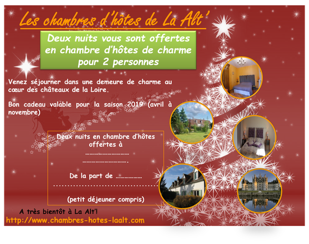 carte cadeau Noël séjour en chambre d'hôtes et hébergements insolites dans les châteaux de la Loire et le zoo de Beauval