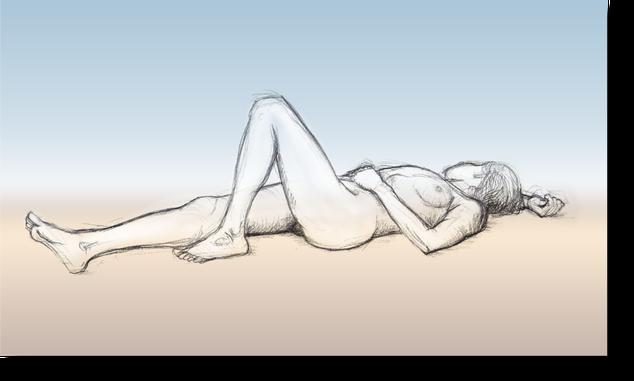 liegender weiblicher Akt, liegende Frau, liegende nackte Frau gezeichnet von Gunter Schmidt Bildhauer, Aktzeichnung, Entspannt liegende nackte Frau, entspannt auf dem Rücken liegende nackte Frau.