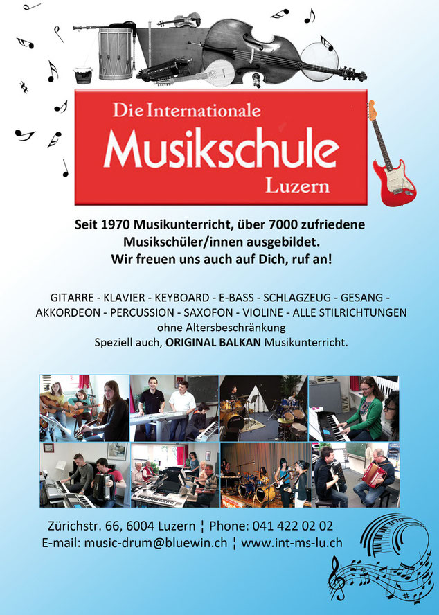 MUSIKUNTERRICHT in der INTERNATIONALEN MUSIKSCHULE LUZERN