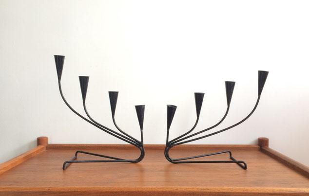 chandelier métal, Ystad Metal, Gunnar Ander, chandelier scandinave, bougeoir vintage