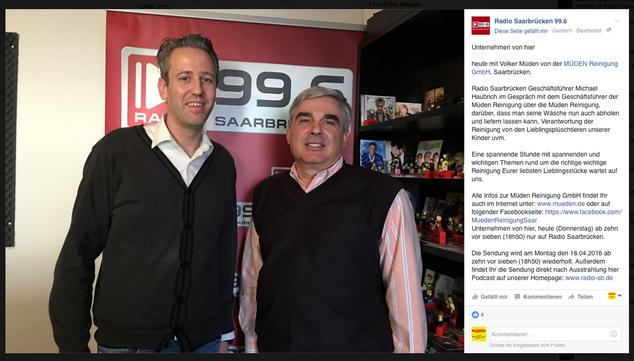 Blog, Bild zeigt Volker Müden mit Radiosprecher Michael Haubrich im Studio