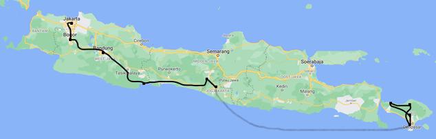 Kaart van Java en Bali