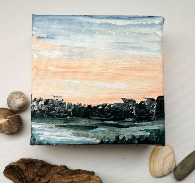 mini-peinture-bleu-ocean-ciel-coucher-de-soleil-marais-nuages-petit-tableau-carre-artiste-peintre-royan-france