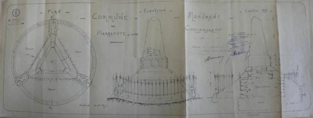 Plan général du monument aux morts. L'exécution des travaux est confiée à Henri MAZON, architecte connu de la commune pour y effectuer régulièrement des travaux sur ses bâtiments publics. Sur le plan, on voit qu'un enclos en fer forgé fermait le monument.