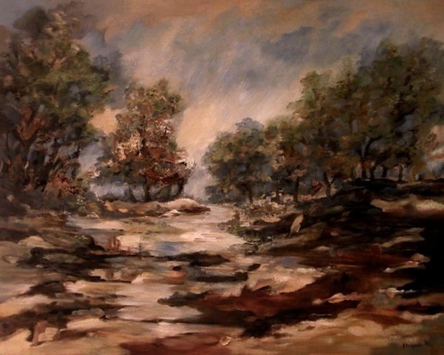 Regenachtige dag   -  Olieverf op doek  80 x 100 cm
