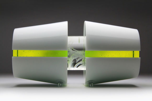 Uranium III. | kiln cast, cut, grinded, glued, hand polished opal and colored glass| 20 x 60 x 20 cm | 2011 | ●