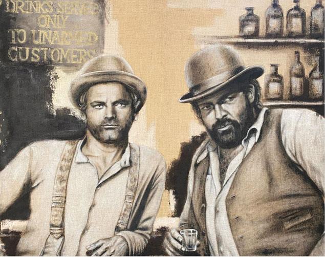 Terence Hill & Bud Spencer, Acryl auf Leinwand, 145x115 cm