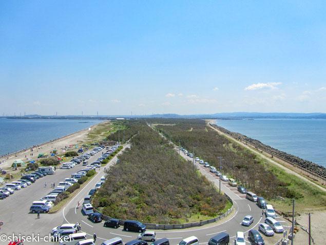 富津岬展望台から富津岬を望む 海の向こうは三浦半島