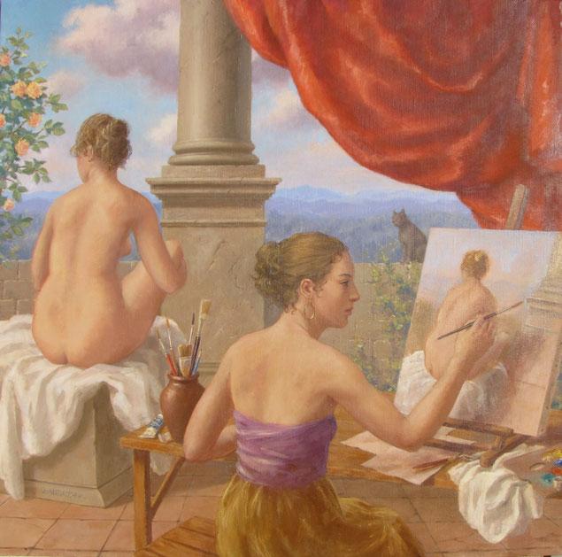 Tony Wahlander, Sur une belle terrasse avec colonne et draperie rouge une jeune femme est en train de peindre un modèle vivant nue assis de dos. Un chat les observes.