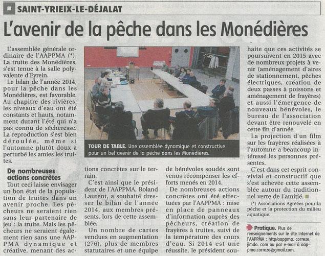 Article pêche monédières assemblée générale AAPPMA Corrèze