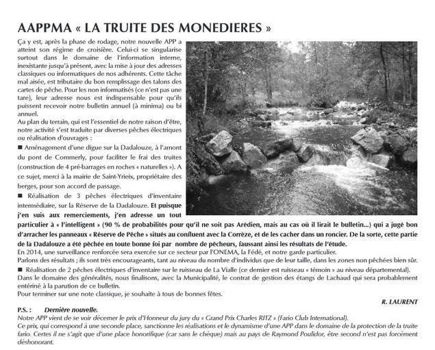 article pêche aappma monédière truite corrèze