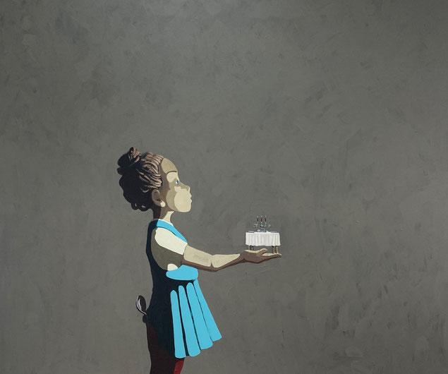 tiny dinner - Acryl auf Leinwand, 100x120cm, 2021