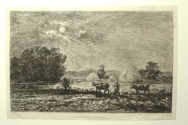 Daubigny, Clair de lune à Valmondois, eau-forte, 13,5 x 21,5 cm.