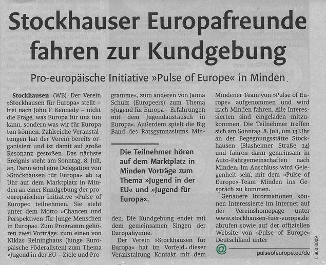 """Vorbericht über den Besuch bei """"Pulse of Europe"""" in Minden am 8. Juli 2018 (Lübbecker Kreiszeitung (Westfalen-Blatt), Lokalteil Lübbecke, 04.07.2018)"""
