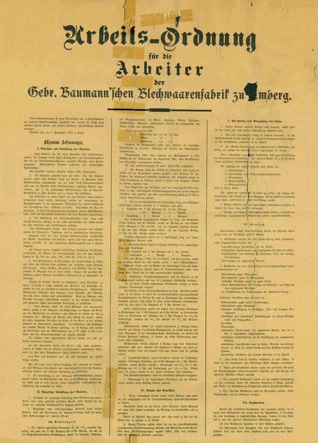 Arbeitsordnung 1.September 1892 [Gaststätte Kummert]