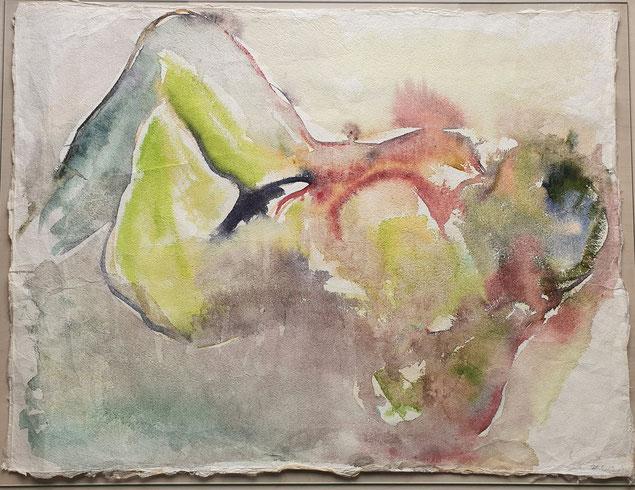"""Nackte in Rückenlage (Titelbild der Ausstellung """"Befreiungsakt"""")      Aquarell auf Büttenpapier von  Maya Franzen"""