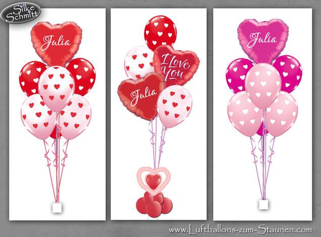 Herzchen-Bouquet personalisiert, Ballon, Luftballon Helium, Liebe , Hochzeit, Geburtstag, Heliumballon I love you