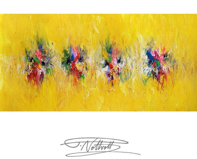 Abstraktes Gemälde im Panorama-Format. Fertig auf einen Keilrahmen gespannt. Gelb