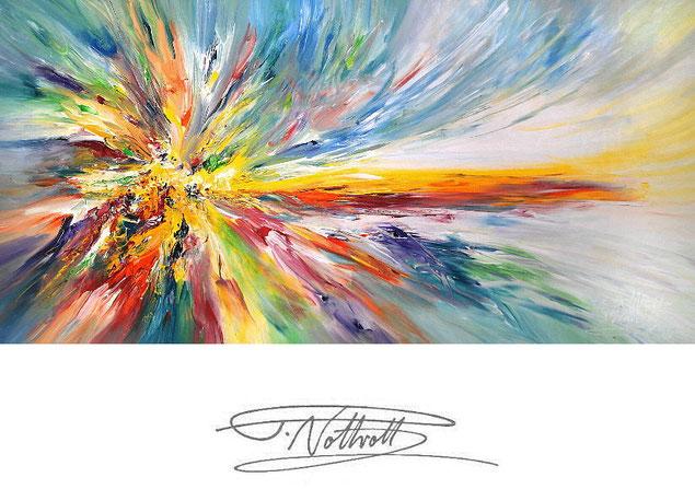 Modernes Gemälde im Panorama-Format. Fertig auf einen Keilrahmen gespannt.