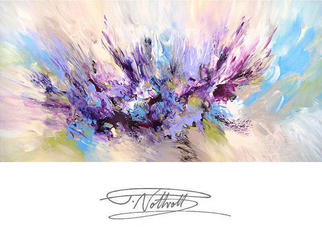 Abstraktes Gemälde im Panorama-Format. Fertig auf einen Keilrahmen gespannt. Magenta.