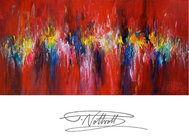 Abstraktes Gemälde im Panorama-Format. Fertig auf einen Keilrahmen gespannt. Rot.