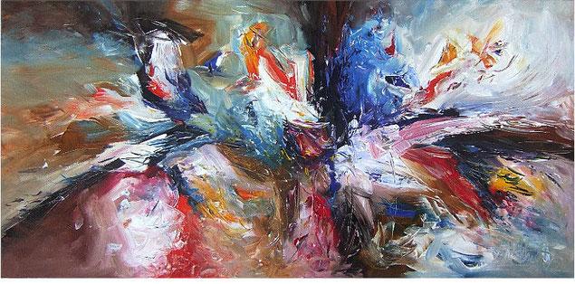 Abstraktes Gemälde im Panorama-Format. Fertig auf einen Keilrahmen gespannt. Braun, blau, rot.