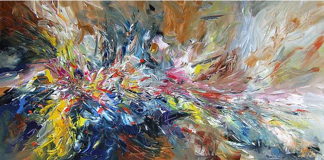 Abstraktes Gemälde im Panorama-Format. Fertig auf einen Keilrahmen gespannt. Braun.