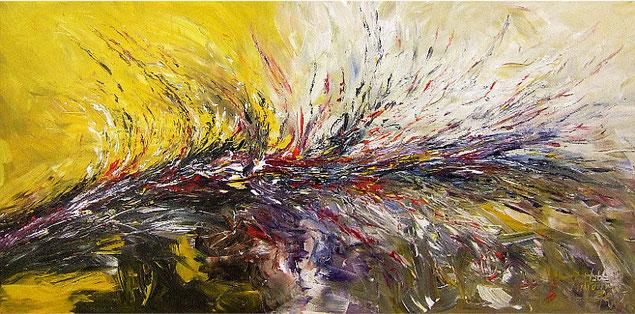 Abstraktes Gemälde im Panorama-Format. Fertig auf einen Keilrahmen gespannt. Gelb.