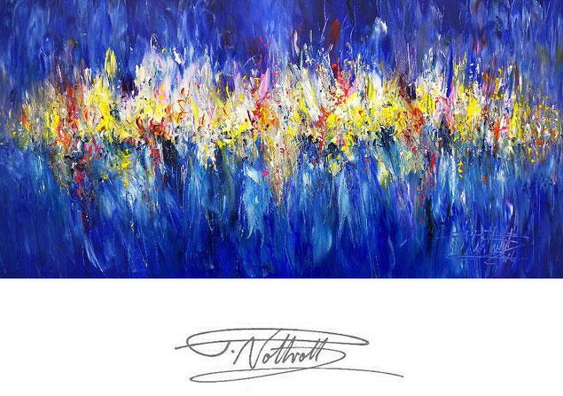 Abstraktes Gemälde im Panorama-Format. Fertig auf einen Keilrahmen gespannt. Blau