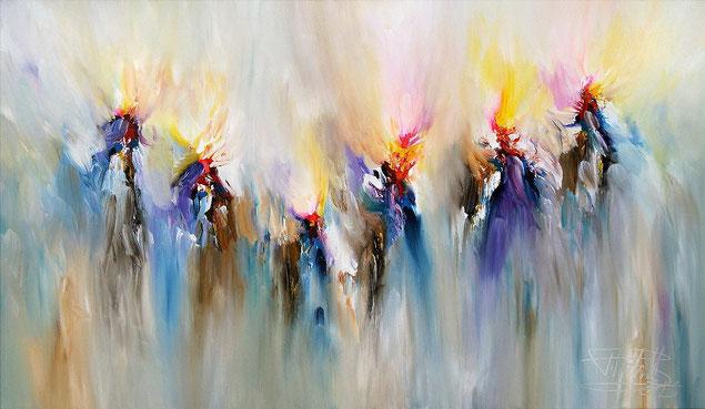 Modernes Gemälde fertig auf einen Keilrahmen gespannt.