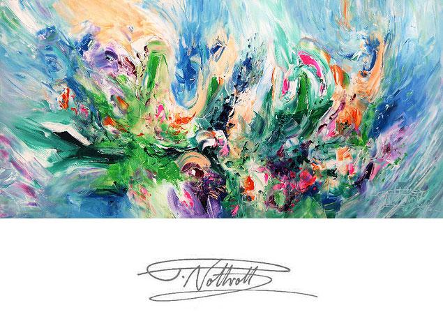 Abstraktes Gemälde im Panorama-Format. Fertig auf einen Keilrahmen gespannt. Grün.