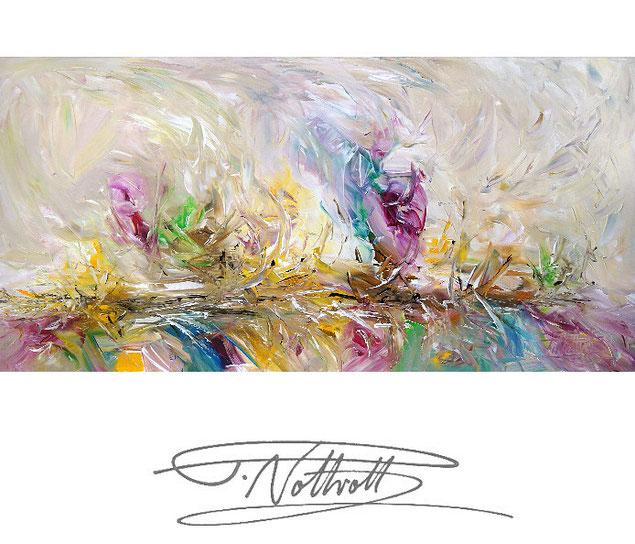 Abstraktes Gemälde im Panorama-Format. Fertig auf einen Keilrahmen gespannt. Beige, braun.